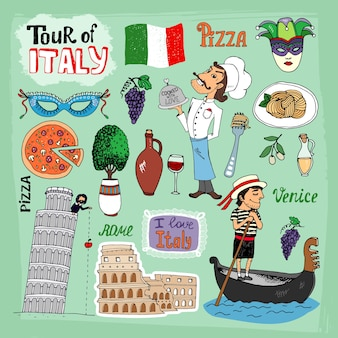 Tour of italy illustration with landmarks