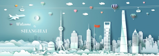 Tour landmark downtown shanghai with cnina flag.