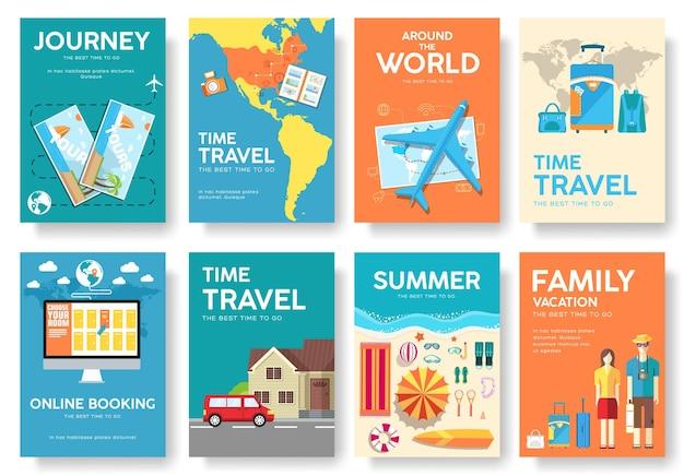 Путешествие по миру брошюра набор иконок, плакаты, буклет, флаер.