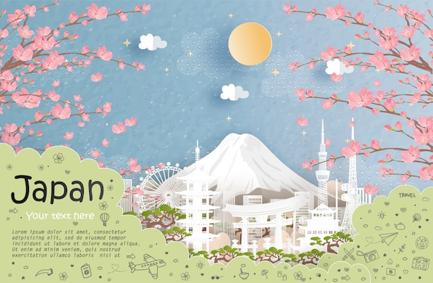 Tour and travel advertising and landmark of japan