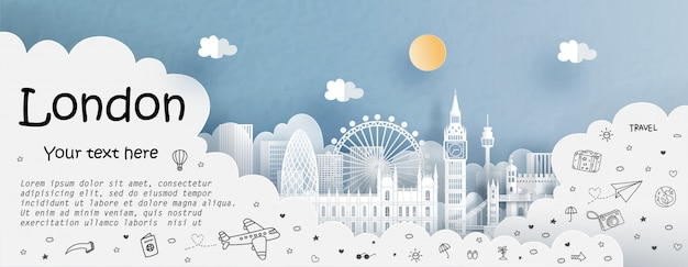 Tour and travel advertising template with travel to england