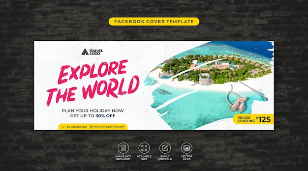 Tour and travel agency social media facebook cover template vector
