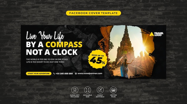 Tour and travel campaign social media facebook cover template vector