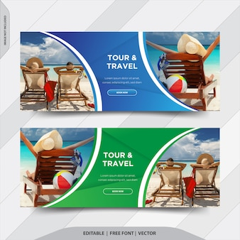 Tour & travel facebook cover social media post banner Premium Vector
