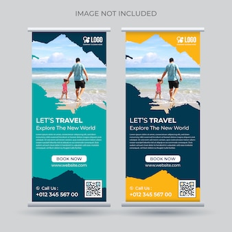 Tour and travel roll up banner stand template