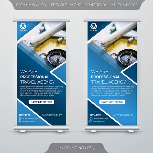 Tour and travel roll up stand banner template design