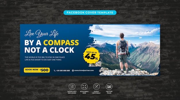 Tour and travel vacation social media facebook cover template vector