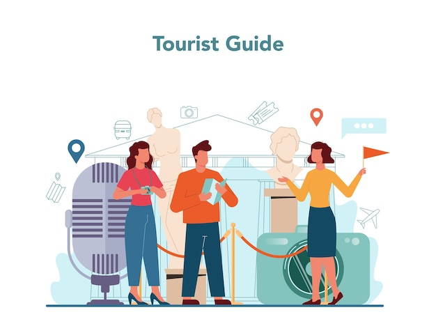 Tour vacation guide concept illustration