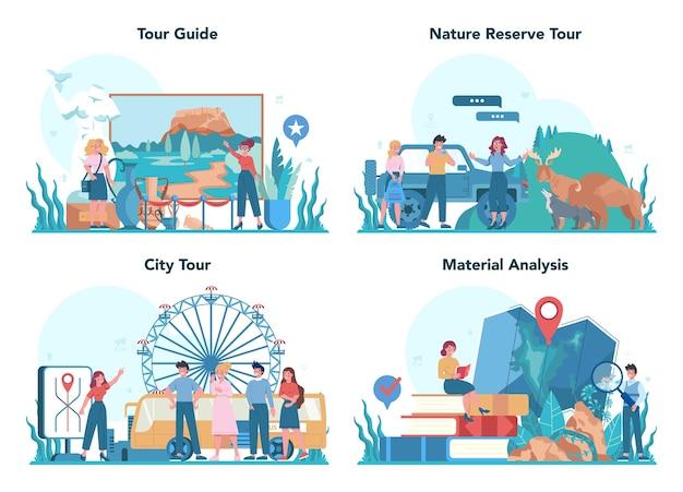 Набор концепции путеводитель отпуск. туристы слушают историю города и достопримечательности. экскурсионные развлечения. идея путешествовать и учиться.