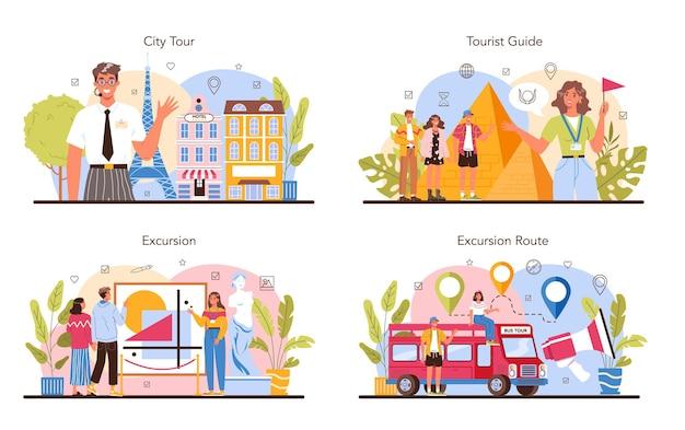 여행 휴가 가이드 개념은 역사를 듣는 관광객을 설정합니다.