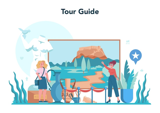 Tour vacation guide concept