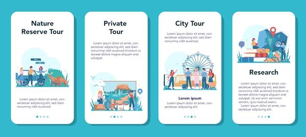 ツアー休暇ガイドモバイルアプリケーションバナーセット。街の歴史やアトラクションを聞く観光客。ツアーエンターテインメント。旅行と学習のアイデア。