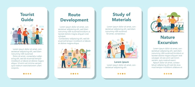 Tour vacation guide mobile application banner set