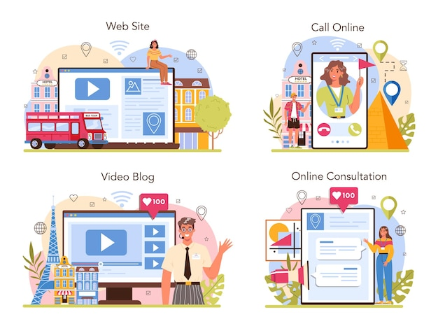 관광 휴가 가이드 온라인 서비스 또는 플랫폼 세트 관광객 듣기