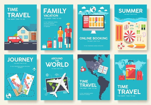 Tour of the world brochure set icons, posters, booklet, flyer.