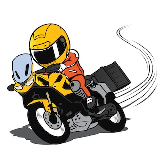 Touring motorcycle overtake on a curve cartoon vector