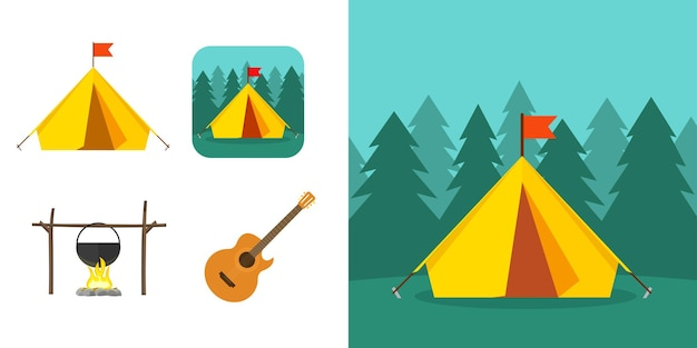 숲의 자연 여행 장면이 있는 관광 모험 아이콘 개념 또는 여름 레크리에이션 캠프 요소