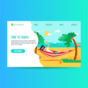 Tourism agency flat landing page template