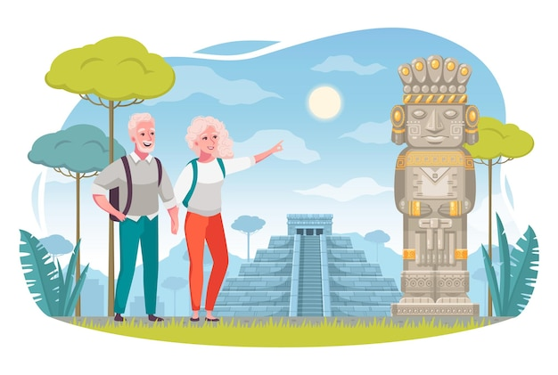 Tourism and aging elderly people travelers, composition with senior couple enjoying sightseeing
