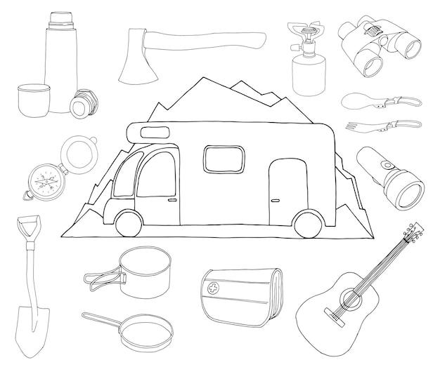 관광 및 캠핑 세트. 스케치 스타일의 그림입니다.