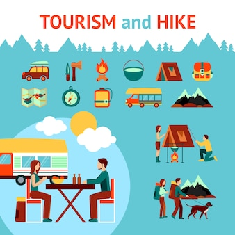관광 및 하이킹 인포 그래픽