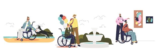 휠체어 여행에 대한 만화 세트의 장애인을 위한 관광 및 여행. 휴가 중인 장애인 캐릭터. 평면 벡터 일러스트 레이 션