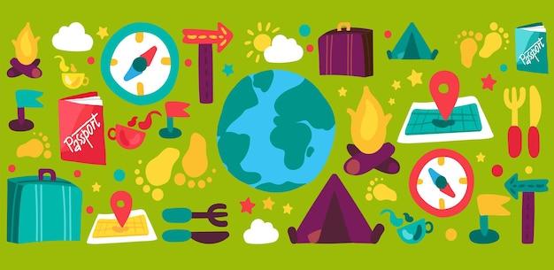 Набор рисованной иллюстрации туризма и путешествий. отдых в дикой природе, кругосветное путешествие, праздничный отпуск