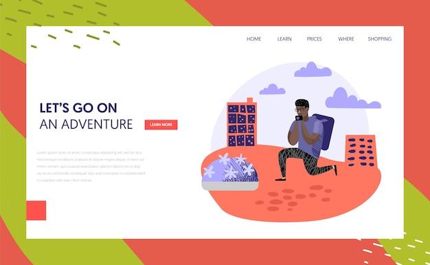観光と旅行のランディングページテンプレート。休暇のコンセプトで旅行するフラットな人々のキャラクター。ウェブサイトまたはウェブページの写真カメラを持つ男。ベクトルイラスト
