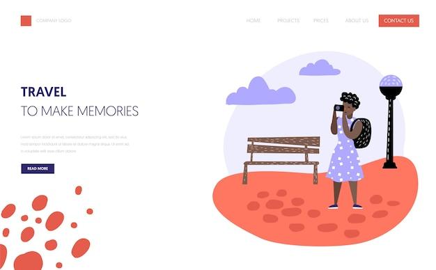 観光と旅行のランディングページテンプレート。休暇のコンセプトで旅行するフラットな人々のキャラクター。ウェブサイトまたはウェブページ用の写真カメラを持つ女性。ベクトルイラスト
