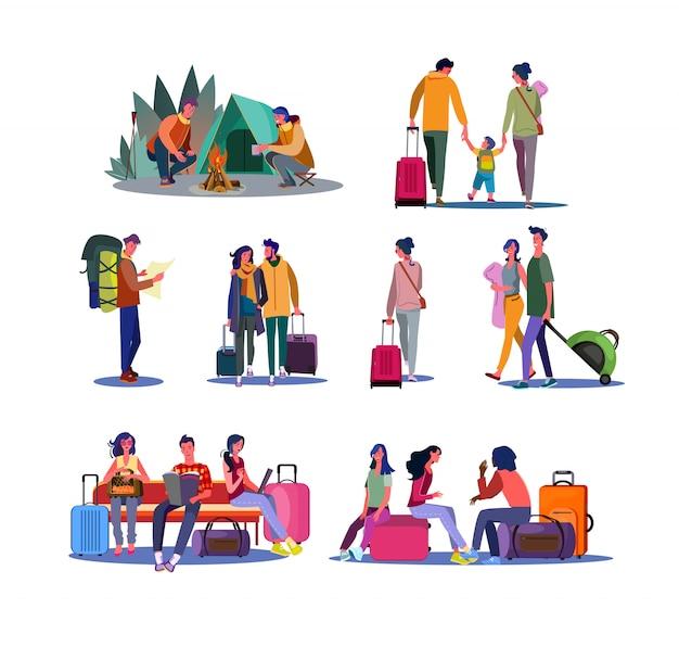 관광 및 여행 세트
