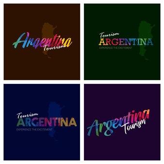 Tourism argentina typography logo background set