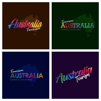 Tourism australia typography logo background set