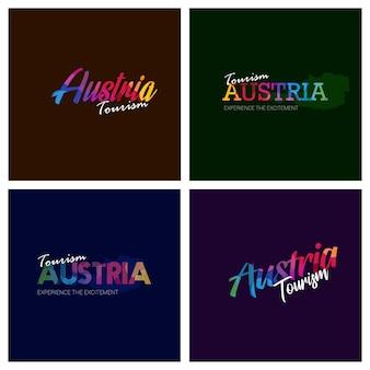 Tourism austria typography logo background set