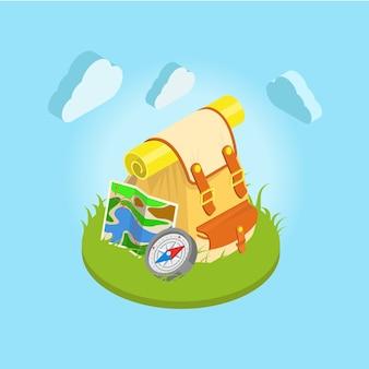 Туристический рюкзак на траве компас карта несбо с облаками на заднем плане