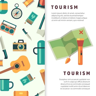 Tourism banner design with flat map and accessories