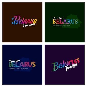 Tourism belarus typography logo background set