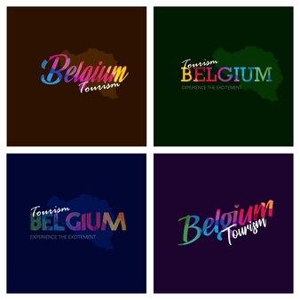 Tourism belgium typography logo background set