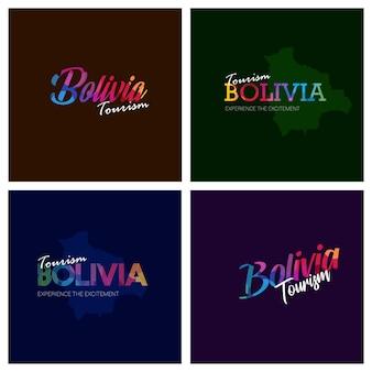 Tourism bolivia typography logo background set