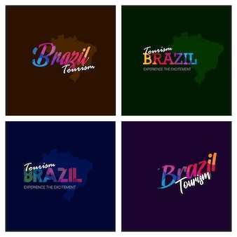Tourism brazil typography logo background set