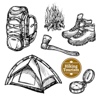 Tourism camping hiking sketch set