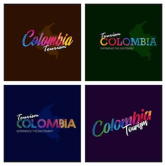 Tourism colombia typography logo background set