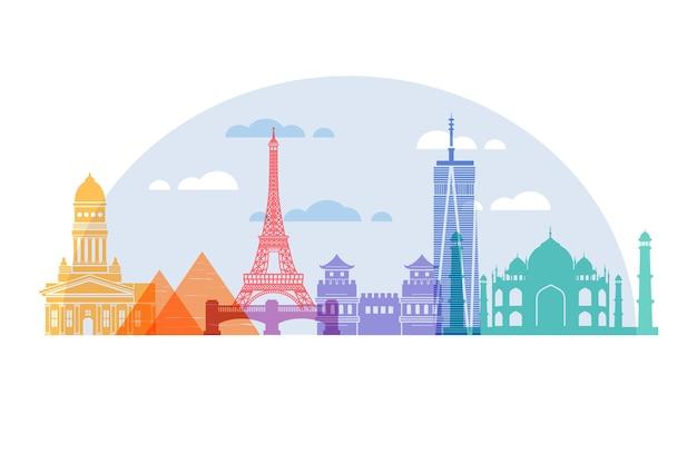 Tourism colorful landmarks skyline