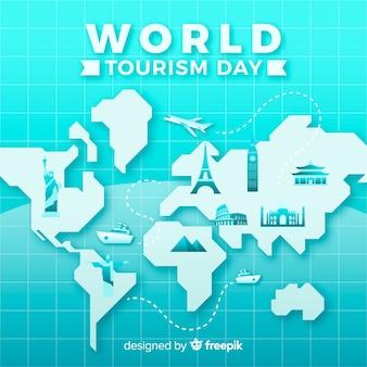 День туризма фон с памятниками вокруг земли