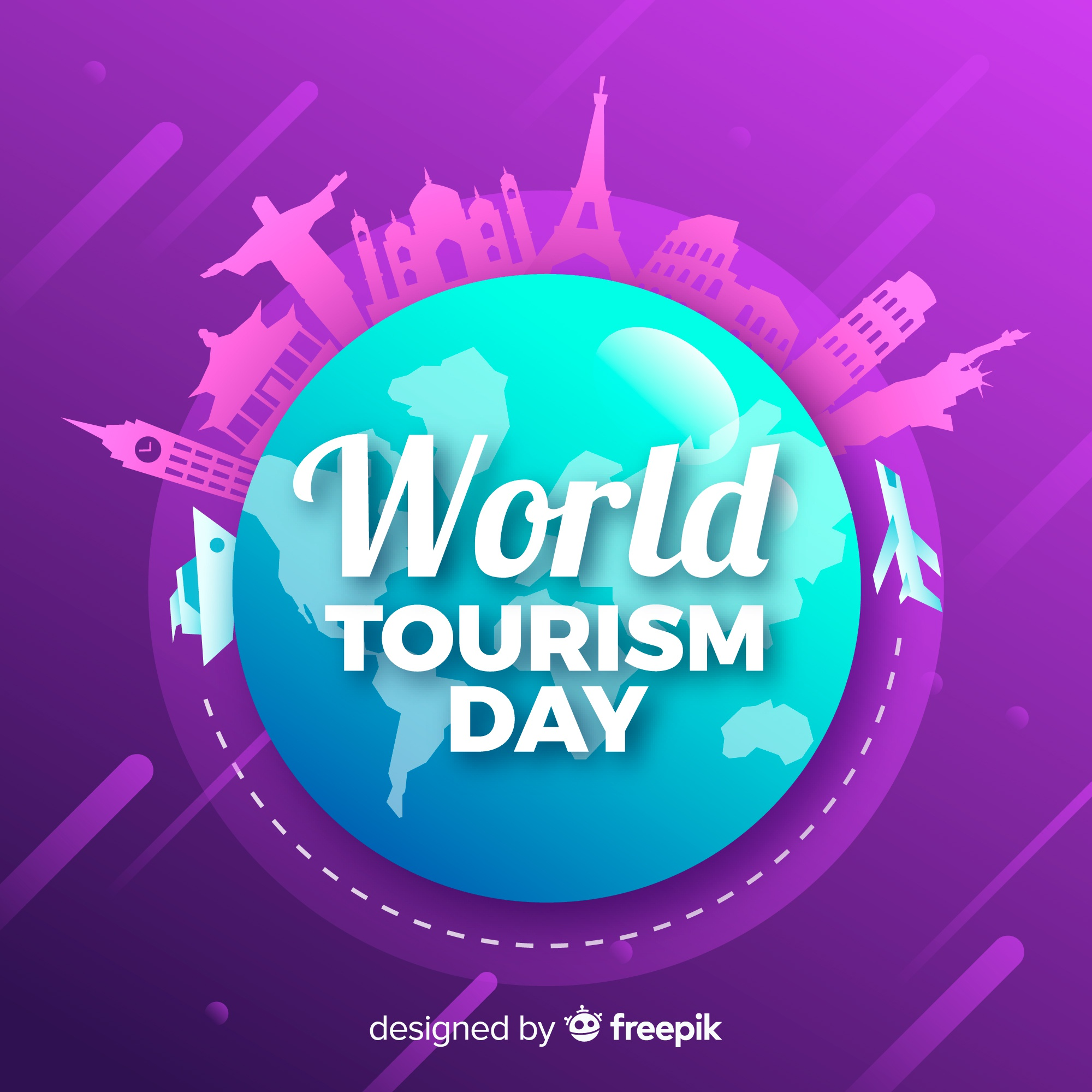 Tourism day background with monuments around earth