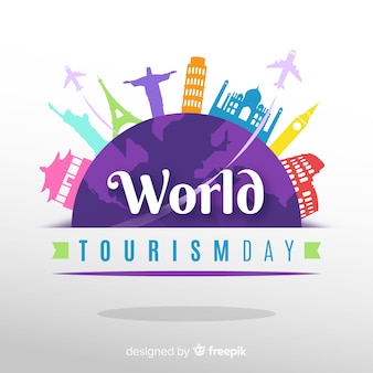 День туризма фон с миром и памятники в плоском дизайне