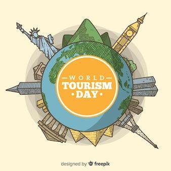 Туристический день фон с миром и памятники в стиле ручной работы