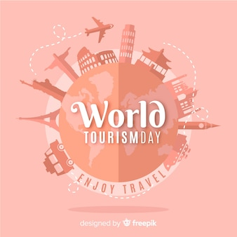 Fondo di giorno di turismo con mondo e monumenti in design piatto