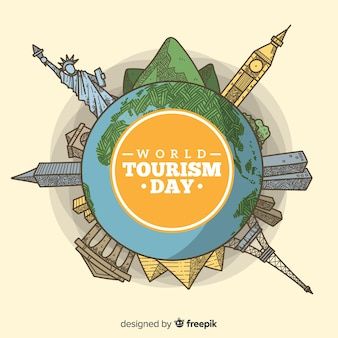 Fondo di giorno di turismo con stile disegnato di mondo e monumenti in mano