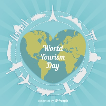 Tourism day background with world and monuments