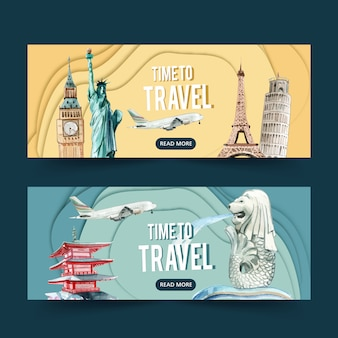 Tourism day banner design with europe and asia landmarks, statues